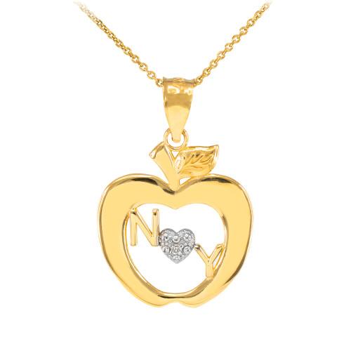 Gold New York Big Apple Diamond Pendant Necklace
