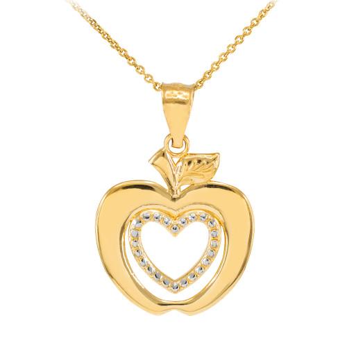 Gold Apple Heart Pendant Necklace
