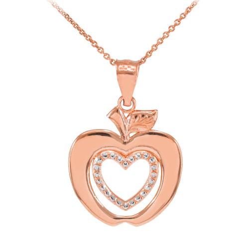 Rose Gold Apple Heart Pendant Fancy Necklace