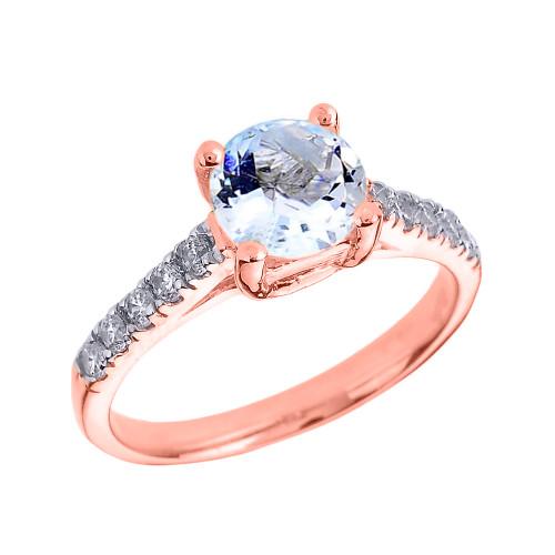 Rose Gold Diamond and Aquamarine Solitaire Engagement Ring