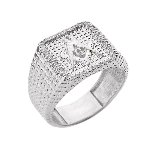 White Gold Textured Band Masonic Men's Diamond Ring