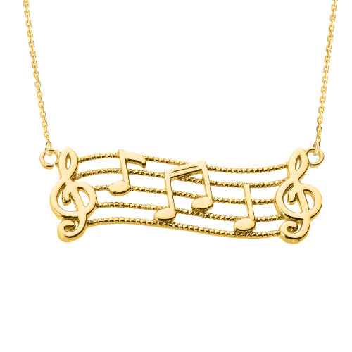14k Yellow Gold Treble Clef with Musical Notes Pendant Necklace