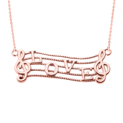 "14k Rose Gold Treble Clef with ""LOVE"" Script Pendant Necklace"