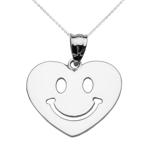 White Gold Happy Smiley Face Heart Pendant Necklace