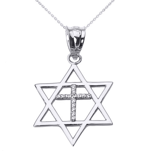 White Gold Star of David with Diamond Cross Pendant Necklace