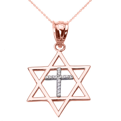 Rose Gold Star of David with Diamond Cross Pendant Necklace