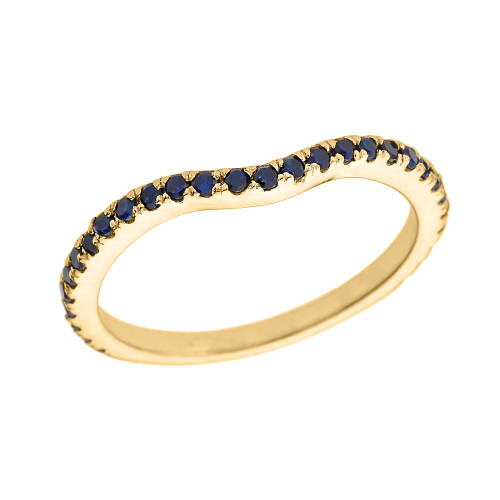 14k Yellow Gold Chevron Stackable Blue CZ Wedding Band