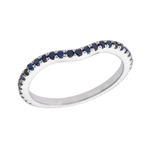 14k White Gold Chevron Stackable Blue CZ Wedding Band