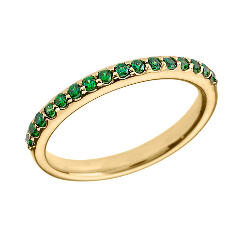14k Yellow Gold Green CZ Stackable Wedding Band