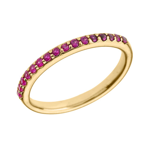 14k Yellow Gold Red CZ Stackable Wedding Band