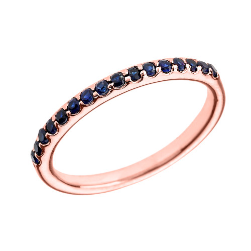 14k Rose Gold Blue CZ Stackable Wedding Band