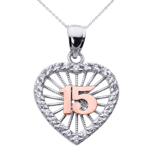Two Tone Gold Sweet 15 Años Quinceanera CZ Heart Pendant Necklace