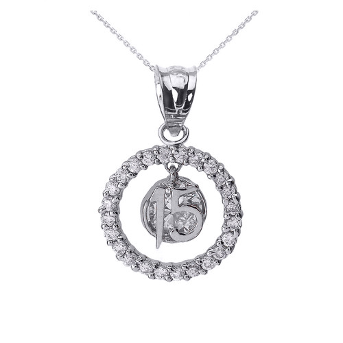 White Gold Sweet 15 Años Quinceanera CZ Round Pendant Necklace