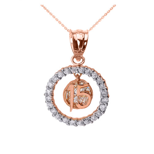Rose Gold Sweet 15 Años Quinceanera CZ Round Pendant Necklace