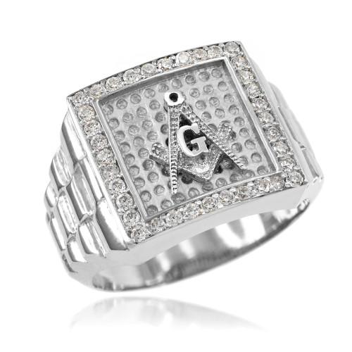 Silver Watchband Design Men's Masonic CZ Ring