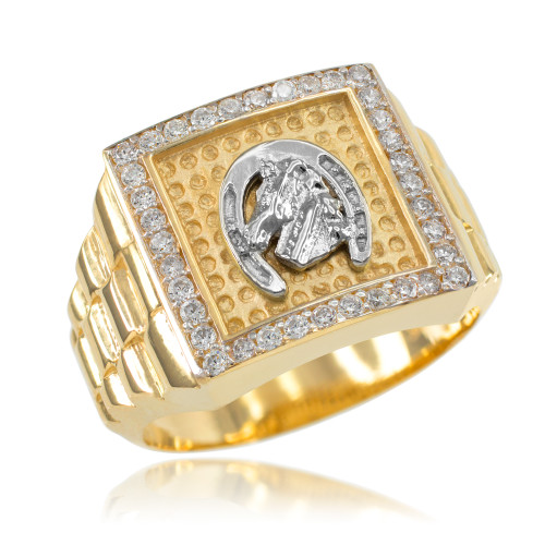 Gold Watchband Design Men's Horseshoe CZ Ring