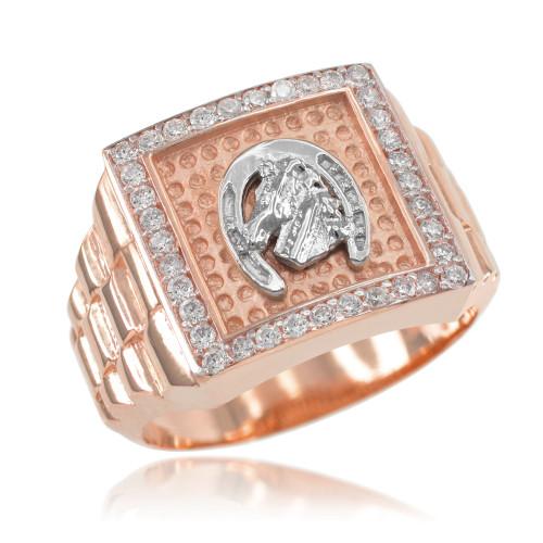 Rose Gold Watchband Design Men's Horseshoe CZ Ring