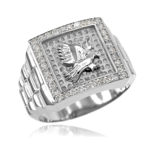 White Gold Watchband Design Men's Eagle CZ Ring