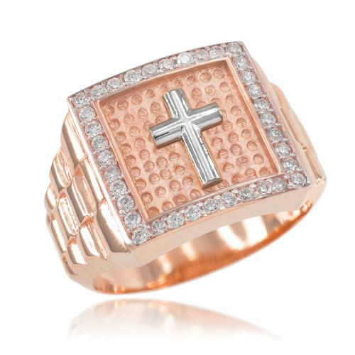 Rose Gold Watchband Design Men's Cross CZ Ring