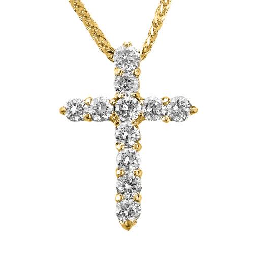 14k Yellow Gold Round Diamond Cross Pendant Necklace