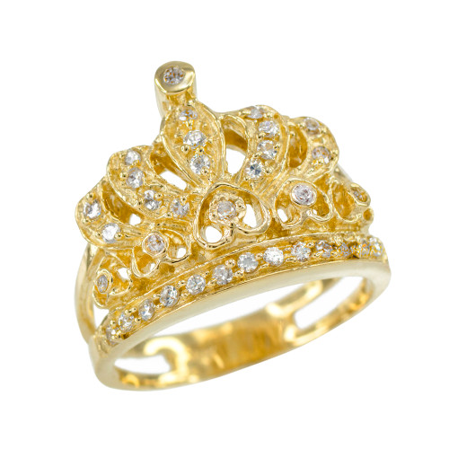 Yellow Gold Crown CZ Ring