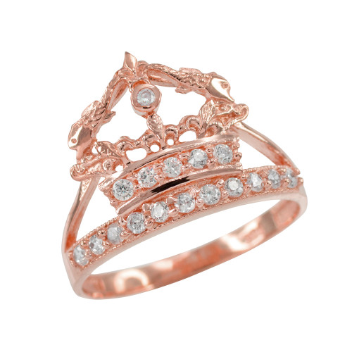 Rose Gold Queen Crown CZ Ring