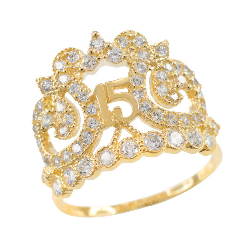 Gold Crown 15 Anos CZ Ring
