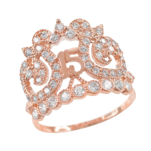 Rose Gold Crown 15 Anos CZ Ring