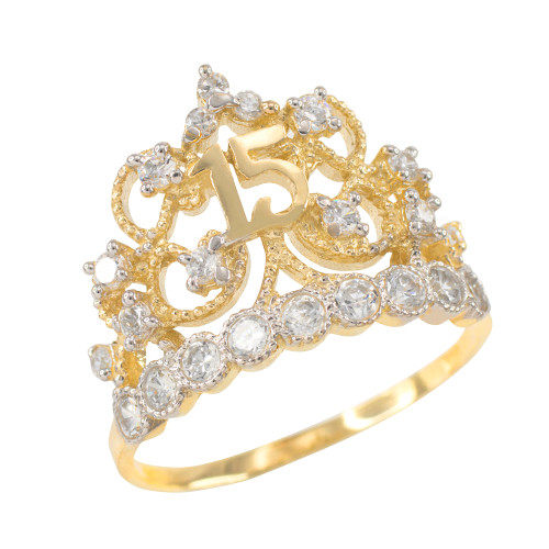 Gold Crown Quinceanera 15 Anos CZ Ring