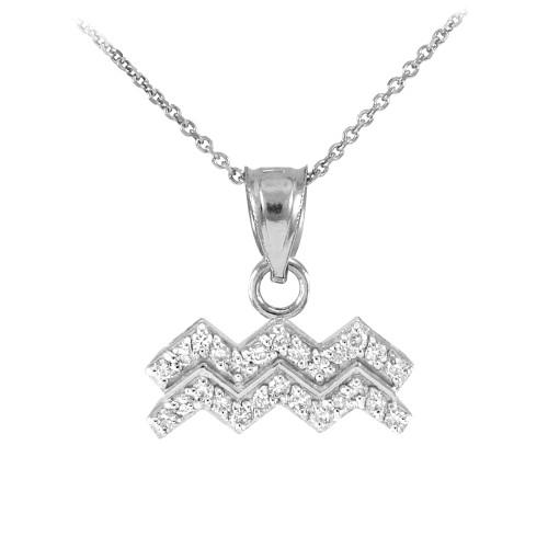 14K White Gold Aquarius Zodiac Sign Diamond Pendant Necklace