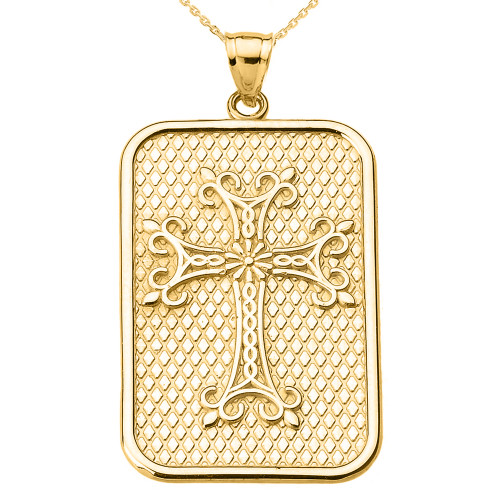 Yellow Gold Armenian Apostolic Cross Pendant Necklace