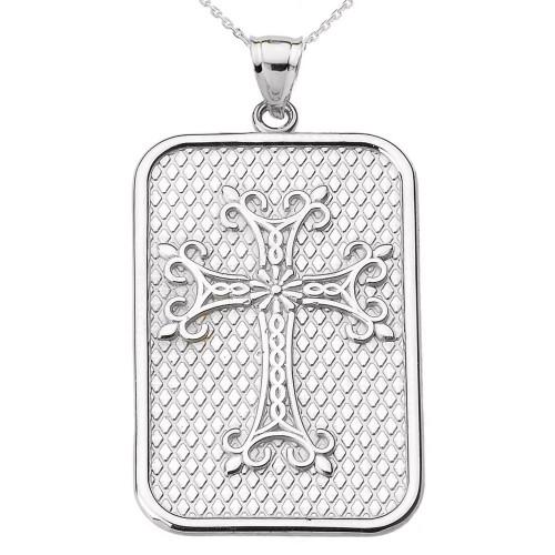 White Gold Armenian Apostolic Cross Pendant Necklace