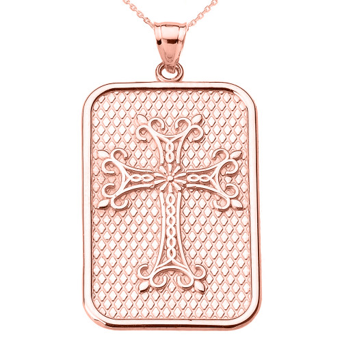 Rose Gold Armenian Apostolic Cross Pendant Necklace