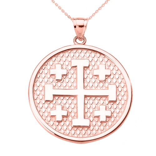 Rose Gold Jerusalem Cross Round Pendant Necklace