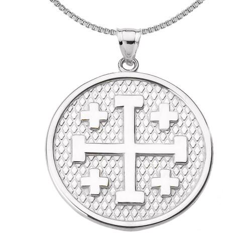Sterling Silver Jerusalem Cross Round Pendant Necklace