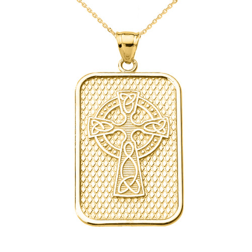Yellow Gold Trinity Knot Celtic Cross Pendant Necklace