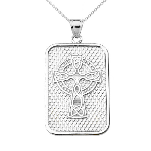 White Gold Trinity Knot Celtic Cross Pendant Necklace