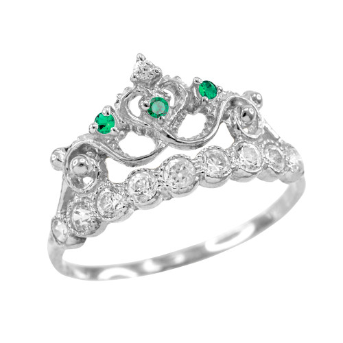 Green CZ White Gold Crown Ring