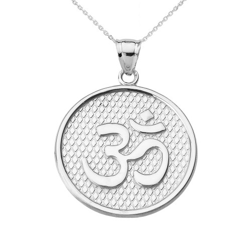 White Gold Om/Ohm Round Pendant Necklace