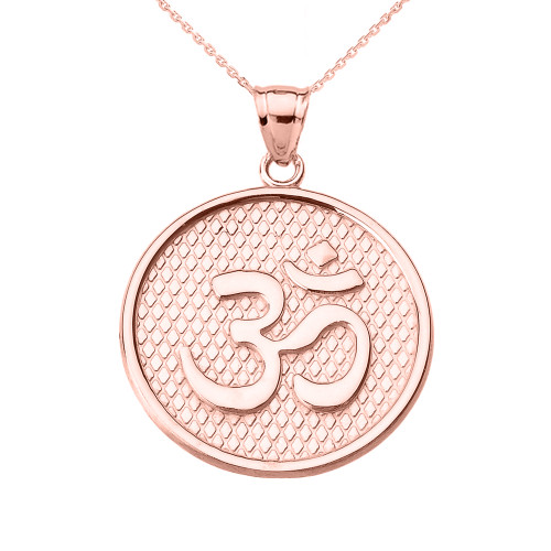 Rose Gold Om/Ohm Round Pendant Necklace