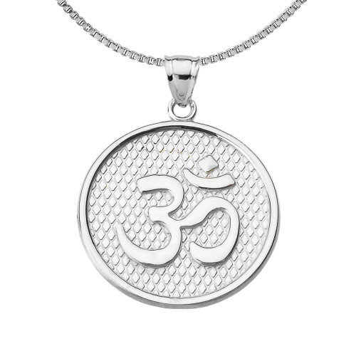 Sterling Silver Om/Ohm Round Pendant Necklace