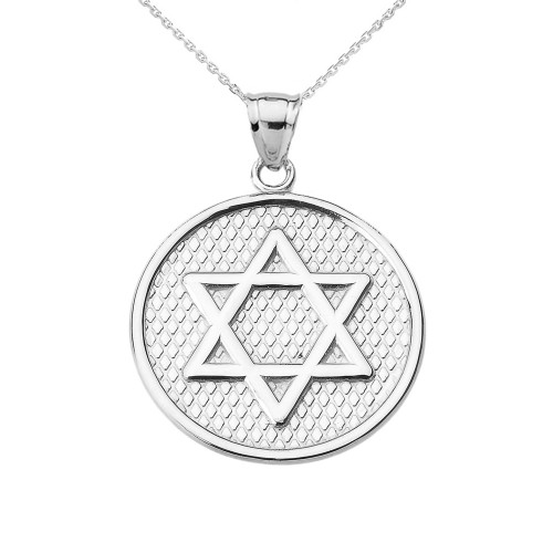 White Gold Star of David Round Pendant Necklace
