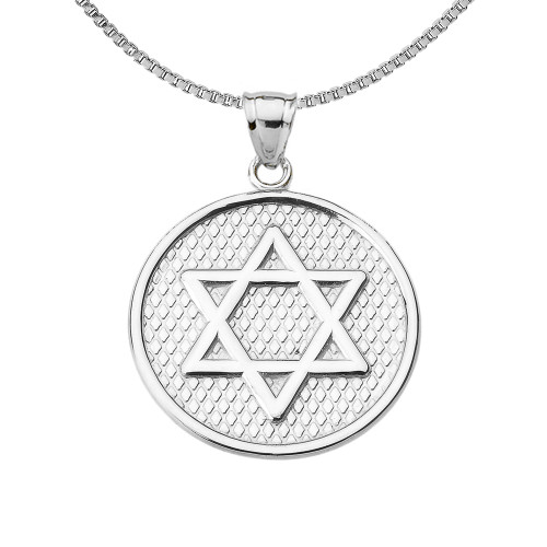 Sterling Silver Star of David Round Pendant Necklace