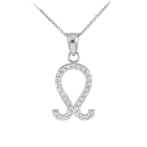 14K White Gold Leo Zodiac Sign Diamond Pendant Necklace