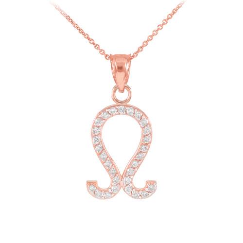 14K Rose Gold Leo Zodiac Sign Diamond Pendant Necklace