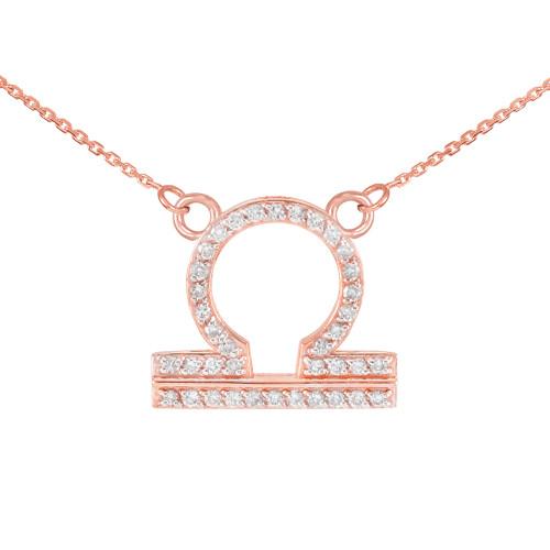 14K Rose Gold Libra Zodiac Sign Diamond Necklace