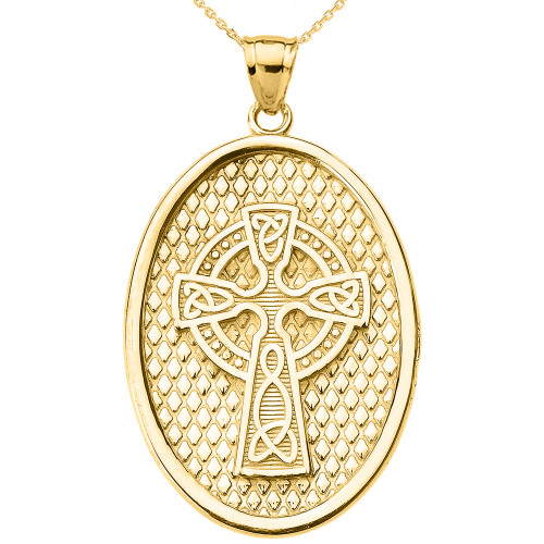 Yellow Gold Trinity Knot Celtic Cross Oval Pendant Necklace