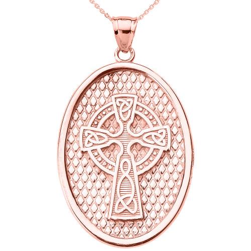 Rose Gold Trinity Knot Celtic Cross Oval Pendant Necklace