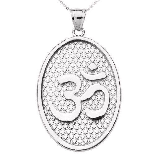 White Gold Om/Ohm Oval Pendant Necklace