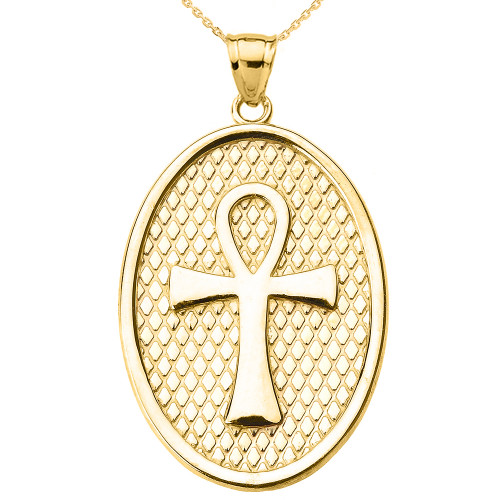 Yellow Gold Egyptian Ankh Cross Oval Pendant Necklace